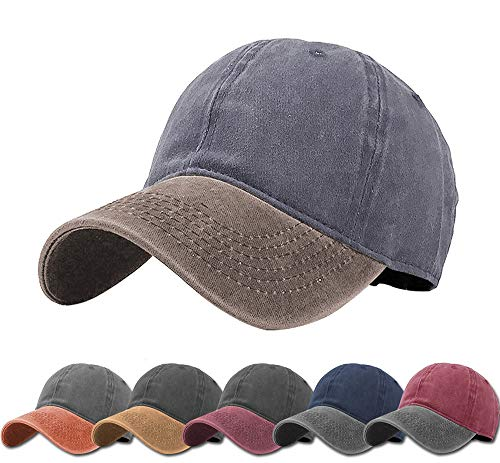 (Aedvoouer Men Women Baseball Cap Vintage Cotton Washed Distressed Hats Twill Plain Adjustable Dad-Hat (Grey+Khaki))