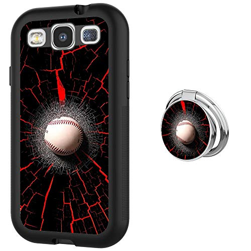 Designed Baseball Samsung Galaxy S3 Case with Buckle Ring 360° Rotatable Silvery Durable Ring Buckle, TPU Black Antiskid Tread Phone Case for Samsung Galaxy S3 (Baseball Samsung Galaxy S3 Case)