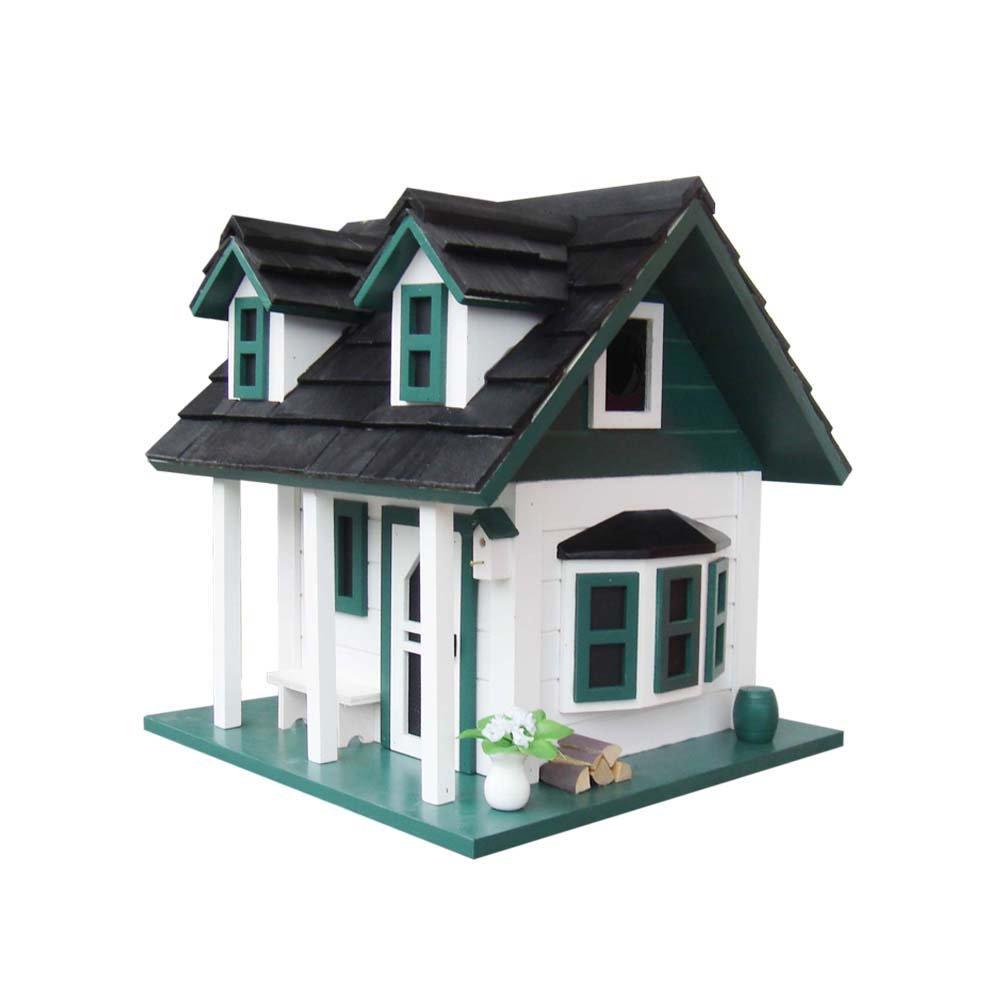 Home Bazaar Green Gables Bird House, White/Green/Black