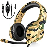 BUTFULAKE Gaming Headset Deep Bass Surround Sound, 3.5mm Headphone with Microphone, Volume/Mic Control