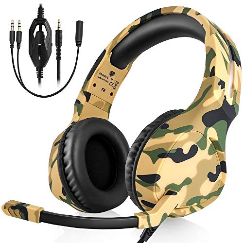 AFUNTA BUTFULAKE Gaming Headset Deep Bass Surround Sound, 3.5mm Headphone with Microphone, Volume/Mic Control, Noise-Canceling, Soft Earmuffs, Compatible Smartphone PC Laptop PS4 ()
