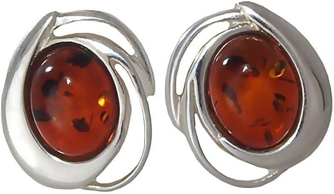 Natural Cognac Honey Amber 925 Strling Silver Earrings Vintage Earrings