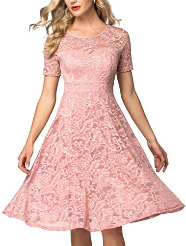 AONOUR Women's Vintage Floral Lace Elegant Cocktail Formal Swing Dress with Short Sleeve Blush 3XL