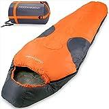 Mountaineer Sleeping Bag'Frozen Mummy' All Season Hiking Camping Trekking Festival Compression Bag - Dark Red