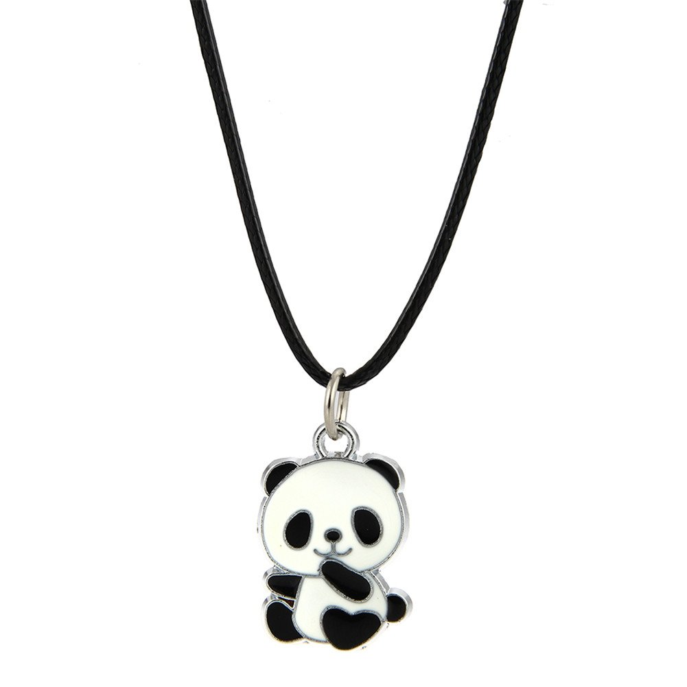 Amazon.com: LUREME Lovely Panda Necklace with Black Cord for Women ...