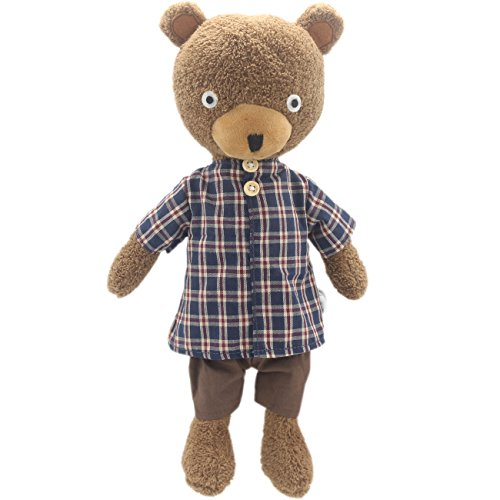 - JIARU Stuffed Animals Toys Teddy Bear Plush Dressed Dolls with Removable Clothes (Plaid Brwon, 14 Inch)