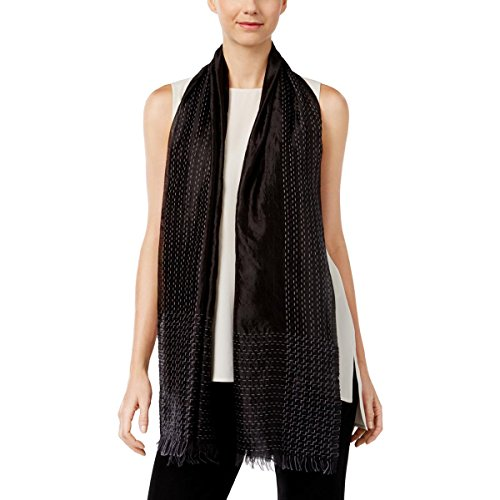 Eileen Fisher Womens Silk Embroidered Decorative Scarf Black - Fisher Womens Eileen Silk