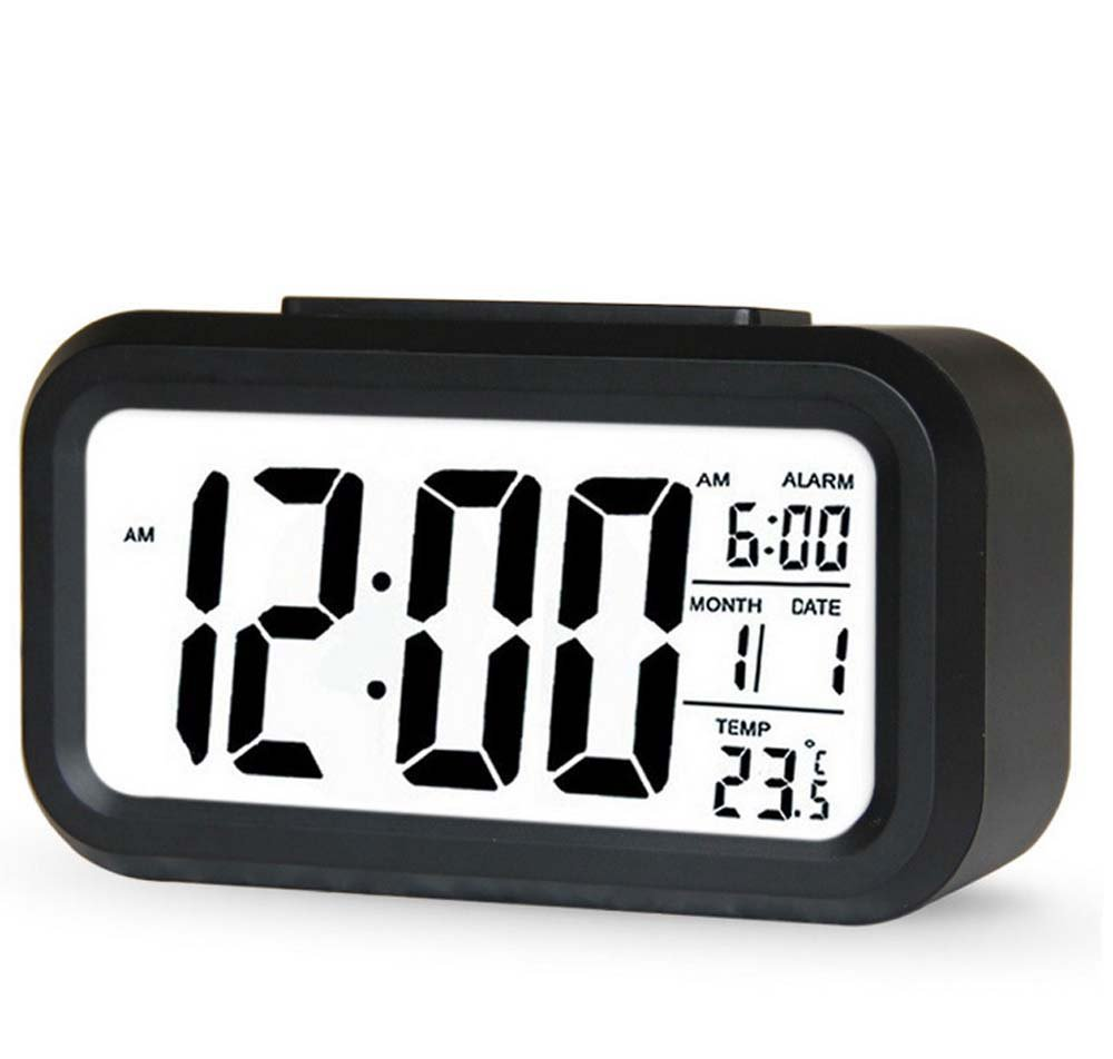 Digital Alarm Clock,AMZSTAR Multifunctional LCD Electronic Clock with Large Screen Battery Operated,Backlight Sensor Touch LED Clock with Time Temperature Date (Black)