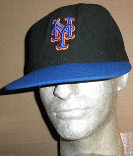 NEW YORK METS GAME USED  27 BLACK   BLUE CAMBRIDGE PLACE CAP NY HAT ... cc1456abf06