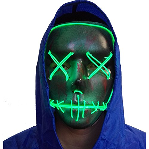 Halloween Mask Cosplay LED Glow Scary EL Wire Light Up Grin Masks for Festival Parties Costume (Green 2) - Two Face Cosplay Costume