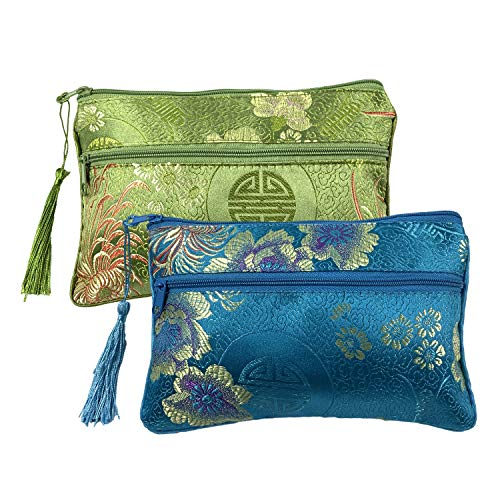 2PCS Silk Brocade Padded Tassel Double Zipper Jewelry Pouch Drawstring Coin Purse Gift Bags Value Set Assort Color 8