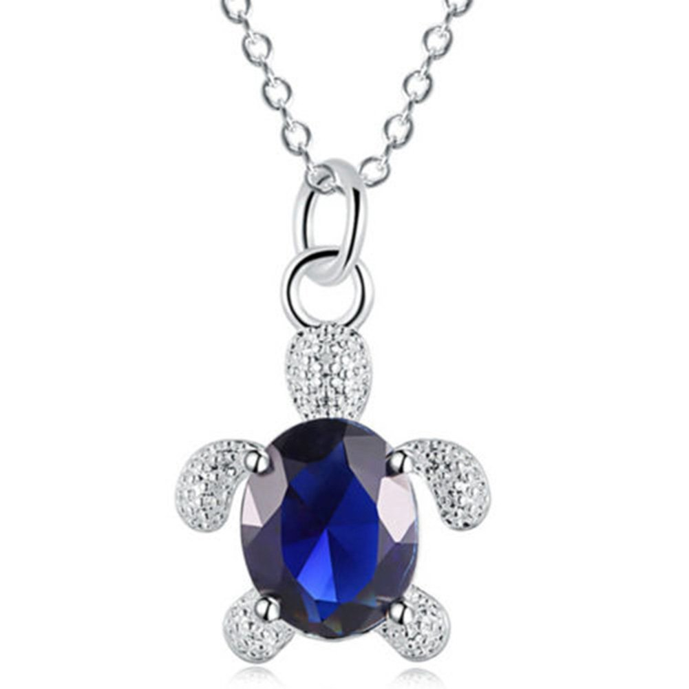Dds5391 Attractive Cute Turtle Pendant Sparkling Zircon Necklace Women Jewelry Friendship Gift - Blue