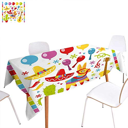 familytaste Fiesta Customized Tablecloth Mexican Party Pattern Cactus Sombrero Musical Items and a Pinata Ethnic Inspirations Stain Resistant Wrinkle Tablecloth 54