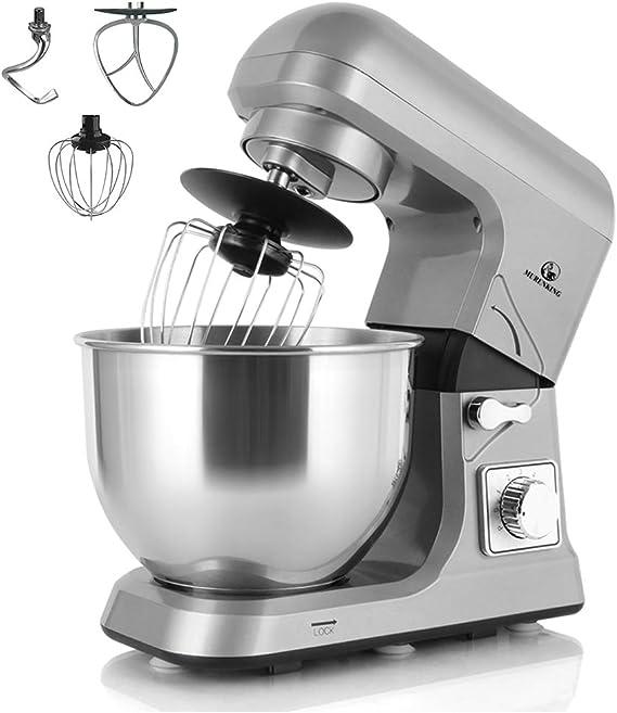 murenking De pie Cocina Batidora MK36C Multifunción 1000W Cabeza Inclinable 5L 6 Velocidades Máquina de Cocinando Herramientas con Accesorios (Gris): Amazon.es