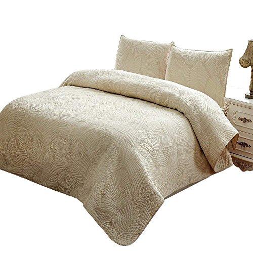 Brandream Beige Vintage Palm Embroidery Comforter Set Queen Size Bed Quilt Set ()