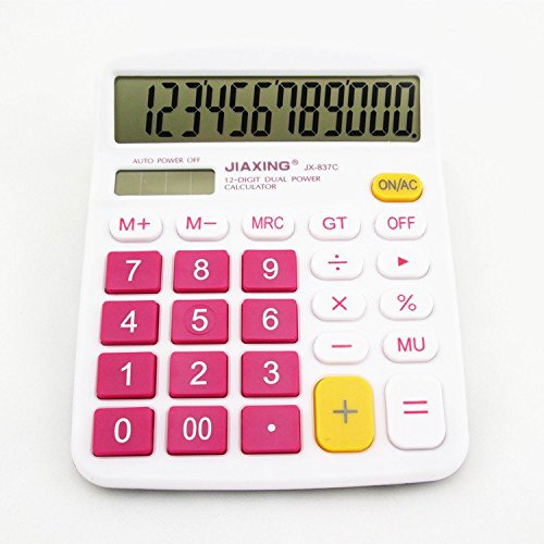 Chris-Wang Colorful Large Button Desktop Calculator for Office & Home Use, 12 Digit Solar & Battery Dual Powered LCD Display Standard Electronic Calculator(Hot Pink)