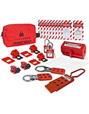 TRADESAFE Electrical Lockout Tagout Kit - Hasps, Clamp on and Universal Multipole Circuit Breaker Lockouts, Loto Tags, Plug Lockout, Safety Padlocks Set