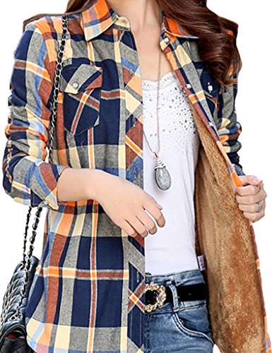 Lined Long Sleeve Blouse - Lasher Women's Button Down Plaid Shirt Warm Long Sleeve Fleece Lined Top Blouse Blue Yellow S