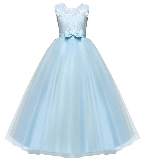 ZhuiKunA Niña Color Sólido Dama de Honor Arco Fiesta Desfile Princesa Noche Vestidos de Novia Azul