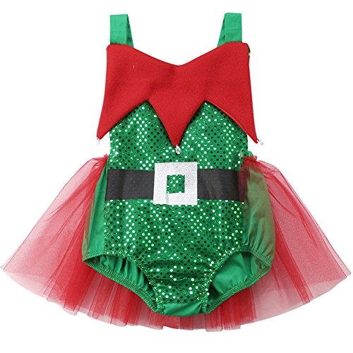 ONE's Infant Baby Toddler Girls Christmas Elf Tutu Romper Halloween Cosplay Costume (Green, 6-12 Months)
