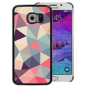 A-type Arte & diseño plástico duro Fundas Cover Cubre Hard Case Cover para Samsung Galaxy S6 EDGE (NOT S6) (Polygon Triangle Pattern Poly Art Pattern)