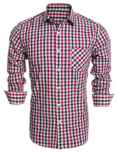 - DAZZILYN Men's Plaid Shirts Slim Fit Dress Shirt Long Sleeve Button Down Shirt With Pockets