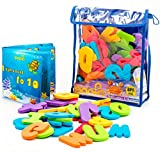 Bath Letters by Boo Fo | 36 Educational Foam Letters and Numbers Baby Bath Toys | Make Learning Fun | with Waterproof Book & Organizer