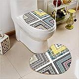 PRUNUS Bathroom Non-Slip Floor Mat Retro Royal Islamic Authentic Ornate Figure and Lines Design Cushion Non-slip