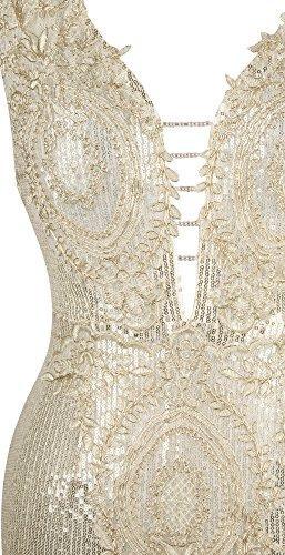 Angel-fashions De las mujeres Lentejuela División Abrir de nuevo cuello en V Applique barrer de tren Vestir Oro