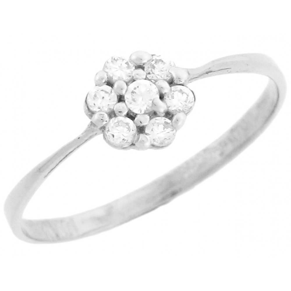 10k White Gold Fancy Cluster Round Cut Diamonds Promise Ring