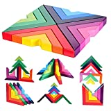M-Aimee Wooden Rainbow Stacking Game Stacker Geometry Building Blocks Creative Nesting Educational Toys