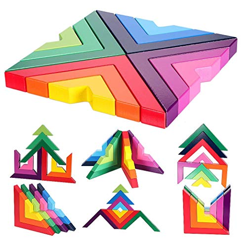 Agirlgle Wood Building Blocks Rainbow Stacking Game