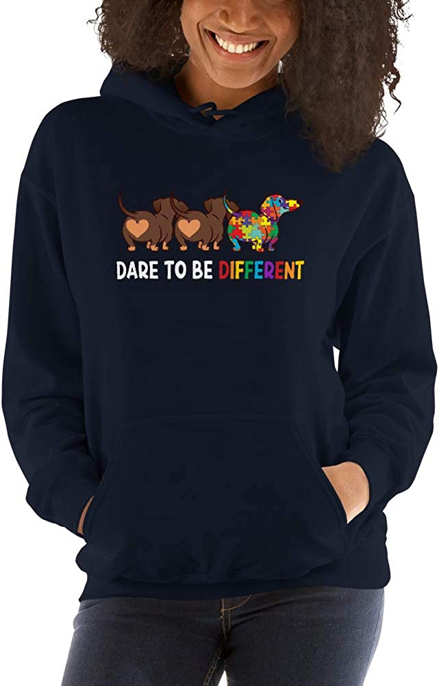 Dachshund Dare to Be Different Autism Awareness Unisex Hoodie