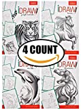 4-Count Set of iDraw Pencil Charcoal Drawing Art Workbooks (Sea Life, Jungle Animals, Dinosaurs, Horses) Practice & Learn How To Draw