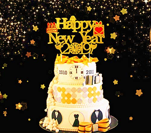 Price comparison product image JeVenis Gold Glittery Happy New Year Cake Topper 2019 Cake Decoration for Cheers to 2019 Hello 2019 Welcome 2019 Theme New Years Party Supplies