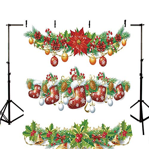Flower Soft Christmas Toppers - Christmas Stylish Backdrop,Traditional Garland Designs with Flowers Socks and Bells Mistletoe Candy for Photography,118