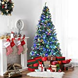 Goplus 8FT Pre-Lit Artificial Christmas Tree Auto-Spread/Close up Branches 11 Flash Modes with Multicolored LED Lights & Metal Stand