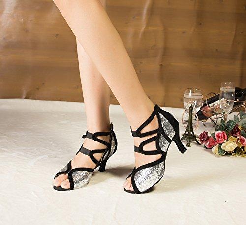 Peep Ankle Toe Suede Argento Strap Tanzschuhe Minitoo Glitter Latein argento Damen yfAOO4