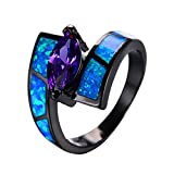 WOWJEW Charm White Opal Ring With Purple Zircon Vintage Black Gold Filled Wedding Engage Rings