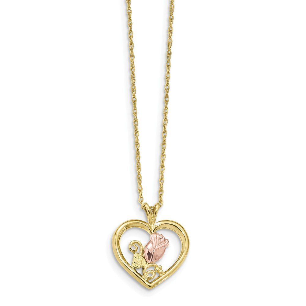 10k Yellow Gold Black Hills Rose in Heart Necklace 18inch