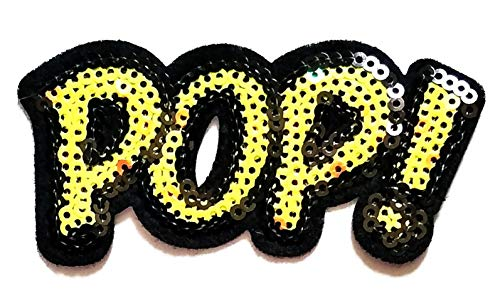 Cute Yellow Letter POP! Funny Word Sequin Shine Shiny Cartoon Logo Kid Baby Boy Jacket T Shirt Patch Sew Iron on Embroidered Sign Gift Costume]()