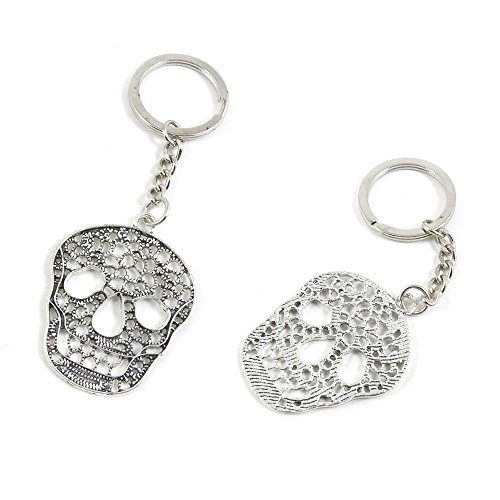 100 PCS Hollow Skull Tags Signs Keychain Keyring Jewelry Making Charms Door Car Key Tag Chain Ring X9VN0F by ChinaTownUS