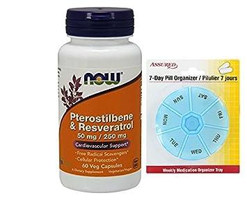 AHORA el pterostilbeno y Resveratrol 50 mg/250 mg, 60 vegetales cápsulas con gratis
