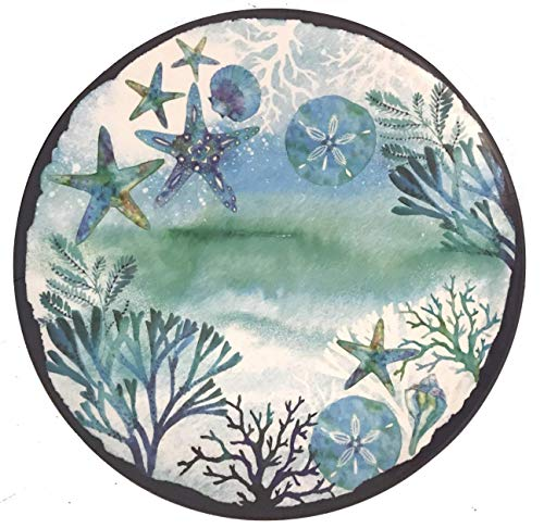 17.5-Inch Sea Life Ocean Themed Pool-Safe Shatterproof Round Melamine Serving Platter (Teal Blue Starfish Shells and Coral)