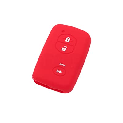 SEGADEN Silicone Cover Protector Case Skin Jacket fit for TOYOTA 3 Button Smart Remote Key Fob CV2404 Red: Automotive