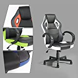 GreenForest Executive Racing Car Style Video Game Chair, Ergonomic Adjustable Swivel Armrest PU Leather Seat High Back For Home Office Desk, White