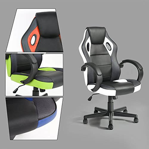 GreenForest Executive Racing Car Style Video Game Chair, Ergonomic Adjustable Swivel Armrest PU Leather Seat High Back For Home Office Desk, White by Green Forest