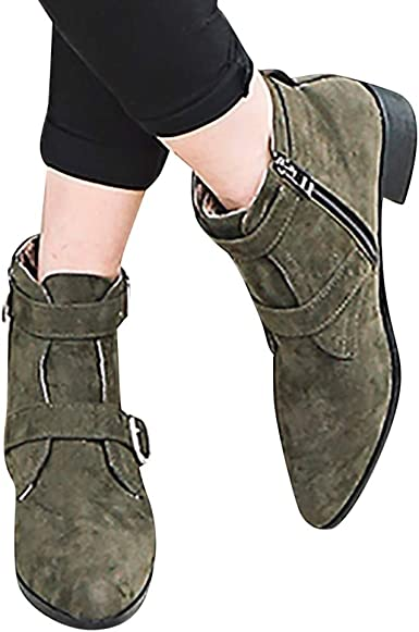 NC Women Zipper Casual Ankle Boots Block Heels Round Toe Buckle Shoes PU Leather