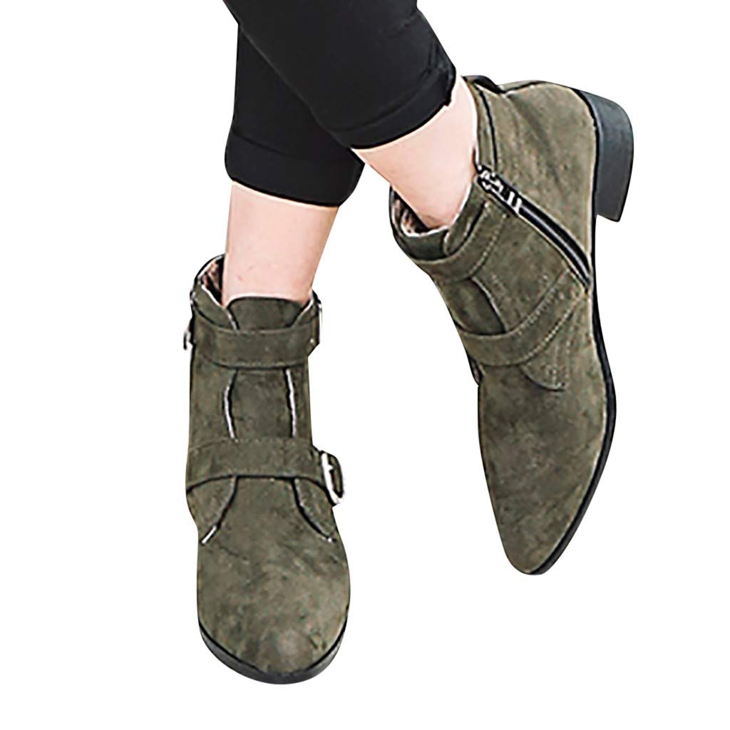 Women's Buckle Strap Ankle Boots - Chunky Block Heel Pointed Toe Side Zipper Suede Comfy Booties (Army Green, US:6)