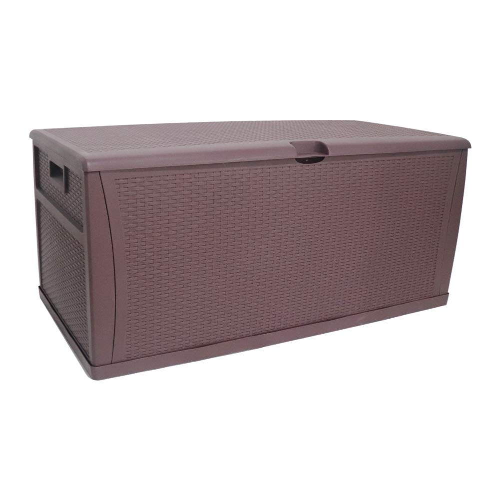 Grand Juguete 121 Gallon All Weather Resin Deck Box, Deluxe Outdoor Patio Storage Deck Box